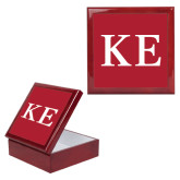 Red Mahogany Accessory Box With 6 x 6 Tile-One Color Greek Letters