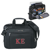 Kenneth Cole Black Vertical Checkpoint Friendly Messenger-Two Color Greek Letters