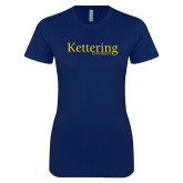 Next Level Ladies SoftStyle Junior Fitted Navy Tee-Kettering University Word Mark