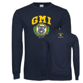 Navy Long Sleeve T Shirt-Retro Gmiemi