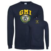 Navy Long Sleeve T Shirt-Retro Gmiemi
