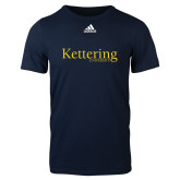 Adidas Navy Logo T Shirt-Kettering University Word Mark