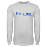 White Long Sleeve T Shirt-Kettering University Word Mark
