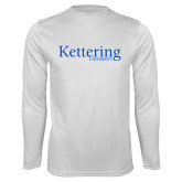 Performance White Longsleeve Shirt-Kettering University Word Mark