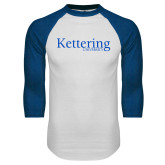 White/Royal Raglan Baseball T Shirt-Kettering University Word Mark