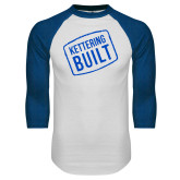 White/Royal Raglan Baseball T Shirt-Kettering Built