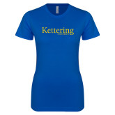 Next Level Ladies SoftStyle Junior Fitted Royal Tee-Kettering University Word Mark