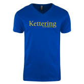 Next Level V Neck Royal T Shirt-Kettering University Word Mark