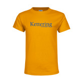 Youth Gold T Shirt-Kettering University Word Mark
