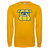 Gold Long Sleeve T Shirt-Bulldog Head