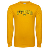 Gold Long Sleeve T Shirt-Arched Kettering Bulldog Head