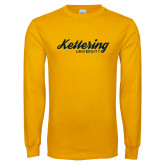 Gold Long Sleeve T Shirt-Script