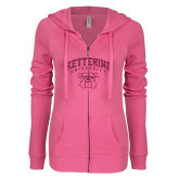 ENZA Ladies Hot Pink Light Weight Fleece Full Zip Hoodie-M Hot Pink Glitter