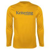 Performance Gold Longsleeve Shirt-Kettering University Word Mark