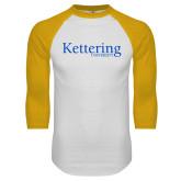 White/Gold Raglan Baseball T Shirt-Kettering University Word Mark