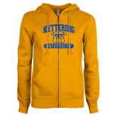 ENZA Ladies Gold Fleece Full Zip Hoodie-Arched Kettering University in Bar