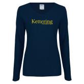 Ladies Navy Long Sleeve V Neck Tee-Kettering University Word Mark