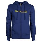 ENZA Ladies Royal Fleece Full Zip Hoodie-Kettering University Word Mark