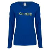 Ladies Royal Long Sleeve V Neck Tee-Kettering University Word Mark
