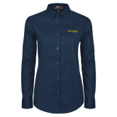 Ladies Navy Twill Button Down Long Sleeve-Kettering University Word Mark