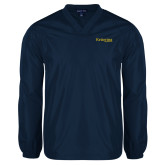 V Neck Navy Raglan Windshirt-Kettering University Word Mark