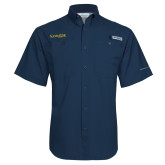 Columbia Tamiami Performance Navy Short Sleeve Shirt-Kettering University Word Mark