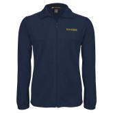 Fleece Full Zip Navy Jacket-Kettering University Word Mark