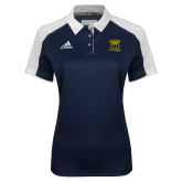 Ladies Adidas Modern Navy Varsity Polo-Primary Mark