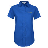 Ladies Royal Twill Button Up Short Sleeve-Kettering University Word Mark