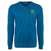 Classic Mens V Neck Moroccan Blue Sweater-Primary Mark