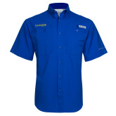Columbia Tamiami Performance Royal Short Sleeve Shirt-Kettering University Word Mark