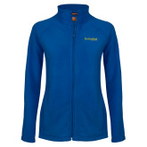 Ladies Fleece Full Zip Royal Jacket-Kettering University Word Mark