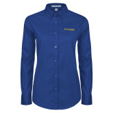 Ladies Royal Twill Button Down Long Sleeve-Kettering University Word Mark