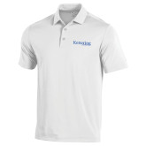 Under Armour White Performance Polo-Kettering University Word Mark