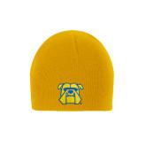 Gold Knit Beanie-Bulldog Head