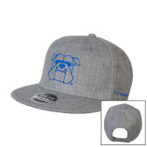 Heather Grey Wool Blend Flat Bill Snapback Hat-Primary Mark Hats
