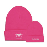 Fleece Lined Neon Pink Knit Beanie-Primary Mark
