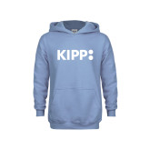 Youth Light Blue Fleece Hoodie-Primary Logo