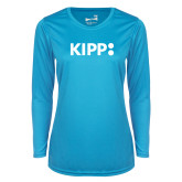 Ladies Syntrel Performance Light Blue Longsleeve Shirt-Primary Logo