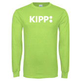 Lime Green Long Sleeve T Shirt-Primary Logo