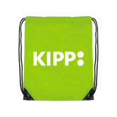 Lime Green Drawstring Backpack-Primary Logo