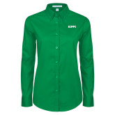 Ladies Kelly Green Twill Button Down Long Sleeve-Primary Logo