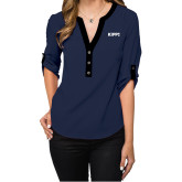 Ladies Posh Navy 3/4 Sleeve Blouse-Primary Logo