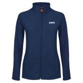 Ladies Fleece Full Zip Navy Jacket-Primary Logo