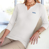 Ladies V Notch White 3/4 Sleeve Shirt-Primary Logo