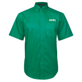 Kelly Green Twill Button Down Short Sleeve-Primary Logo