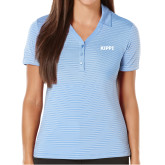 Ladies Callaway Core Stripe Light Blue/White Polo-Primary Logo