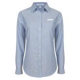 Ladies Light Blue Oxford Shirt-Primary Logo