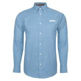 Mens Light Blue Oxford Long Sleeve Shirt-Primary Logo