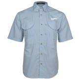 Light Blue Short Sleeve Performance Fishing Shirt-Primary Logo